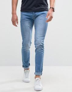 Светлые зауженные джинсы с легкой потертой отделкой Loyalty and Faith - Синий