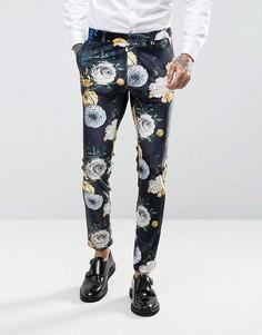 Темно-синие супероблегающие брюки из бархата с ярким цветочным принтом ASOS - Темно-синий