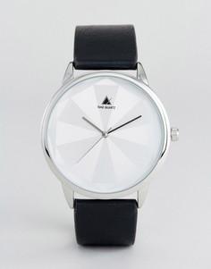 Часы с ремешком из искусственной кожи и геометрическим принтом на циферблате ASOS - Черный
