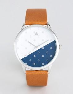Часы со светло-коричневым ремешком из искусственной кожи и принтом якоря ASOS - Рыжий