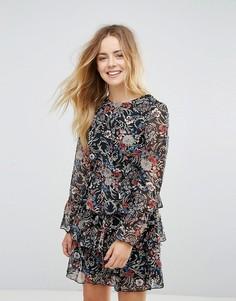3-ярусное платье с цветочным принтом Brave Soul - Черный