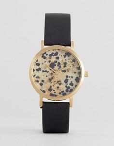 Часы ограниченной серии с кожаным ремешком и пятнистым принтом на циферблате CLUSE La Roche - Черный