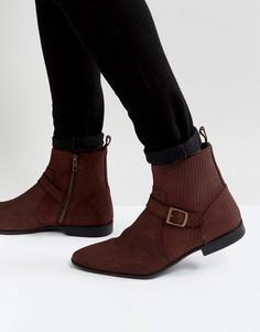 Бордовые замшевые ботинки челси с пряжками и молниями ASOS - Красный