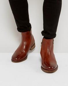 Коричневые кожаные ботинки челси с молниями ASOS - Коричневый
