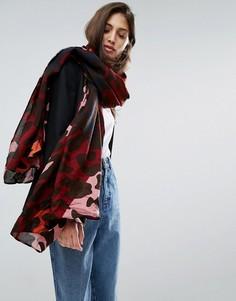 Oversize-шарф с разноцветным леопардовым принтом ASOS - Мульти