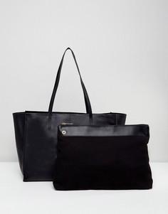 Кожаная сумка для покупок с отстегивающимся клатчем-вкладышем ASOS - Черный