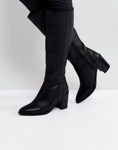 Высокие кожаные сапоги ASOS CAUGHT UP - Черный