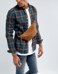 Светло-коричневая замшевая сумка-кошелек на пояс ASOS - Рыжий