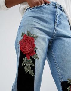 Светло-синие джинсы слим в винтажном стиле с завышенной талией и вышивкой в стиле 3D ASOS ORIGINAL - Синий
