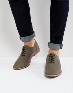 Серые кожаные оксфордские туфли с контрастной подошвой ASOS - Серый