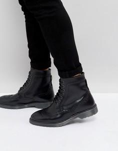 Черные кожаные броги с рифленой подошвой ASOS - Черный