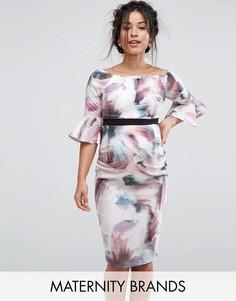 Облегающее платье с цветочным принтом и расклешенными рукавами Little Mistress Maternity - Мульти