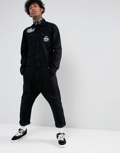 Черный джинсовый комбинезон с нашивками и принтом ASOS - Черный