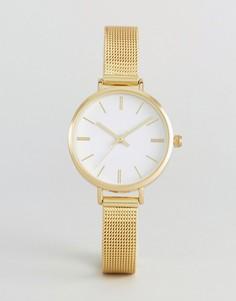 Золотистые часы с сетчатым ремешком ASOS - Золотой