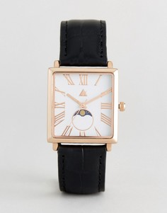 Часы с кожаным ремешком и квадратным циферблатом ASOS Premium - Черный