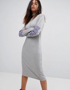 Платье-футболка с длинными рукавами и логотипом на спине Back by Ann Sofie Back - Черный
