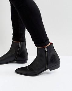 Кожаные ботинки на молнии Walk London Ziggy - Черный