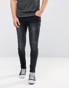 Черные выбеленные супероблегающие джинсы с вышивкой и байкерской отделкой ASOS - Черный