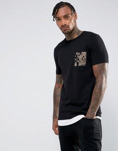 Длинная обтягивающая футболка со вставкой и принтом пейсли на кармане ASOS - Черный