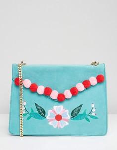 Сумка через плечо с цветами из помпонов Skinnydip - Синий