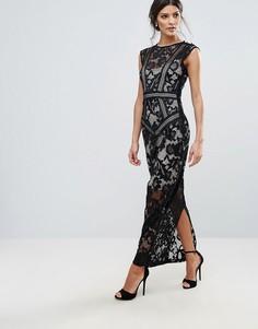 Кружевное панельное платье макси Little Mistress - Черный