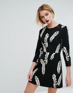 Платье с цветочным принтом Sportmax Code - Черный