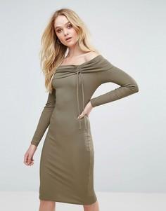 Платье миди в рубчик со спущенными плечами Love - Серый