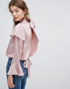 Блузка с оборками и разрезом на спине ASOS Luxe - Фиолетовый