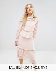 Платье мини с оборками и отделкой металлик True Decadence Tall - Розовый