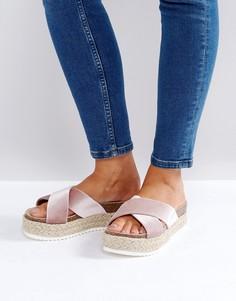 Бархатные сандалии-эспадрильи на платформе New Look - Розовый