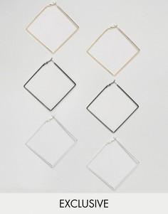 Набор из 3 пар сережек Reclaimed Vintage Inspired - Серебряный