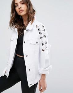 Джинсовая куртка на шнуровке Boohoo - Белый