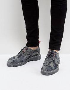 Камуфляжные туфли с 3 парами люверсов Dr Martens x Staple - Серый