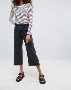 Укороченные широкие джинсы с бахромой Noisy May Mazz - Черный