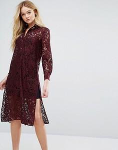 Кружевное платье-рубашка с длинными рукавами Closet - Красный