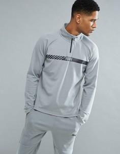 Серый эластичный свитшот на молнии Puma Running Active Tec 59423803 - Серый