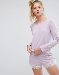 Пижамные лонгслив и шорты с кружевом и мелкой бахромой ASOS - Фиолетовый
