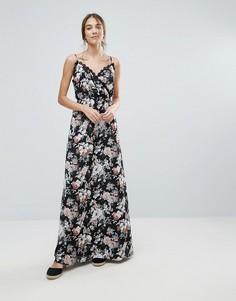 Платье макси с цветочным принтом и кружевной отделкой Uttam Boutique - Черный