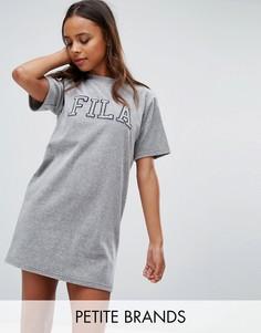 c97bce5d54b1 Велюровое платье-футболка с контрастным логотипом Fila Petite - Серый