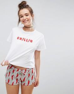 Пижамный комплект из шортов и футболки с принтом Chillin ASOS - Мульти