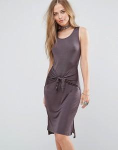 Платье миди с завязкой и боковыми разрезами Bellfield Lizase - Серый