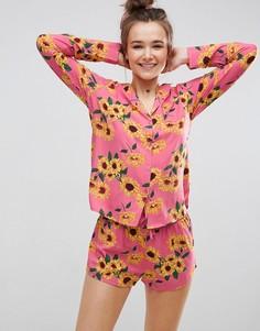 Пижамный комплект из рубашки и шортов с подсолнухами ASOS - Мульти