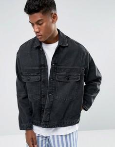 Выбеленная черная джинсовая куртка Zeffer - Черный