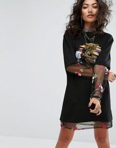 Свободное платье-футболка с цветочной вышивкой Sacred Hawk - Черный