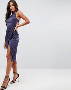 Платье миди с драпировкой и открытой спиной ASOS - Темно-синий