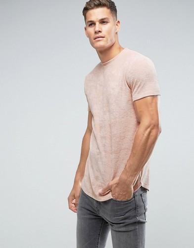 Длинная махровая футболка телесного цвета ASOS - Бежевый