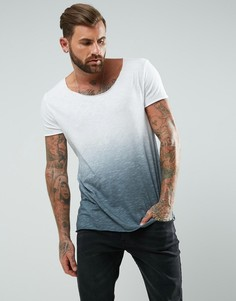 Удлиненная фактурная футболка с овальным вырезом и эффектом деграде ASOS - Серый