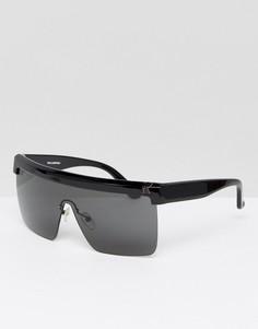 Черные солнцезащитные очки с ровным верхом Karl Lagerfeld - Черный