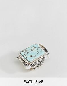 Квадратное кольцо с бирюзой Sacred Hawk - Серебряный