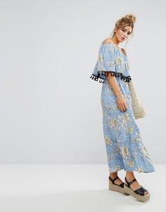 Платье макси с вышивкой, принтом и кисточками Boohoo - Синий